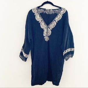 Joie Black Cotton Tunic Embroidery Small